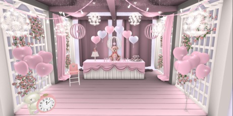 Second Life Marketplace Mesh Gazebo Pavilion Baby Shower It S A Girl Party Package Baby Shower Cake Decorations Balloons Archway Complete Set
