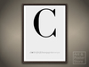 Typography Poster Capital Letter C | | Mesh Framed with 7 texture options