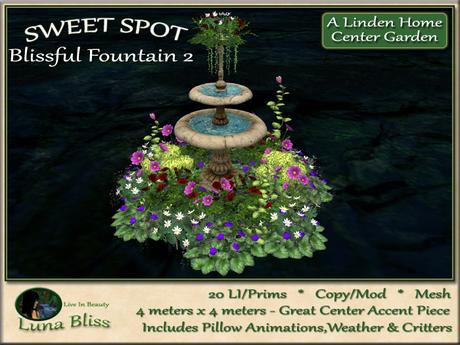 Blissful Fountain 2 SWEET SPOT - Center Garden - Garden Arrangement