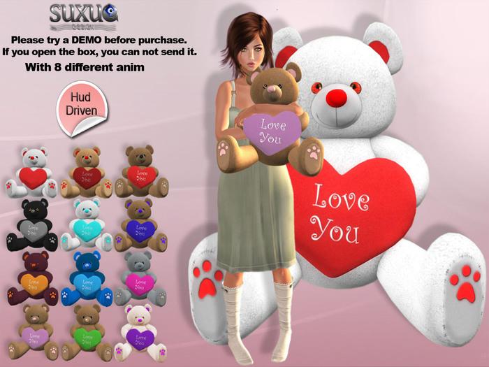 [SuXue Mesh] FATPACK Ben Teddy Bear via Hud, 8 Pose Anim, Resize, Hug Me & You can put the teddy bear anywhere, 1 Box