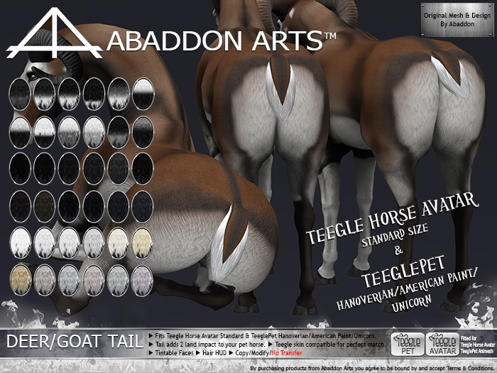 ABADDON ARTS - Deer/Goat Tail [Teegle Avatar & Teeglepet HANO-APH-UNI] LUXE