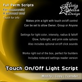 Touch On/Off Light Script - Full Perm Scripts