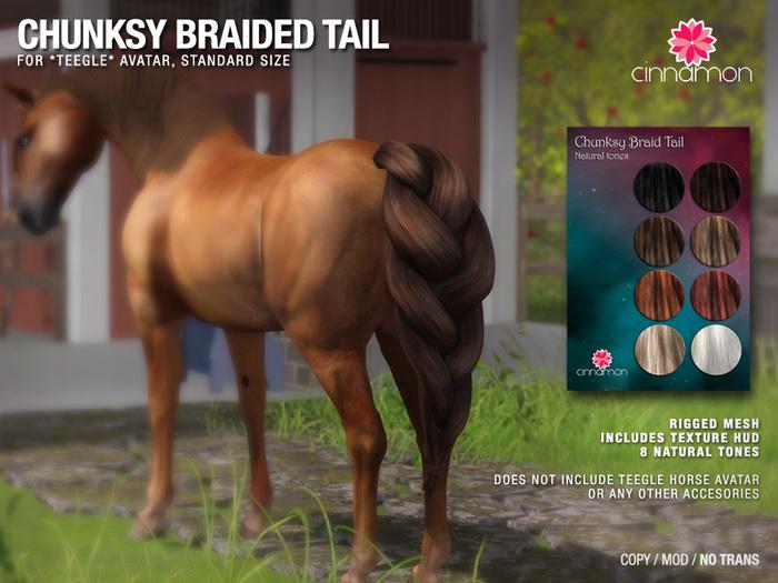 *CINNAMON* Teegle Avatar (Standard size) - Chunksy braid Tail (natural colors)