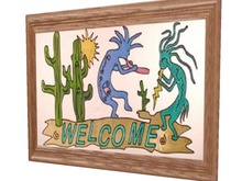 Western Wall Art Kokopelli Desert Welcome Native American Country Framed Hanging Picture copy/mod 1 Prim HOT PROMO SALE