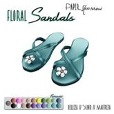 Paper.Sparrow - Teal Flower Sandals
