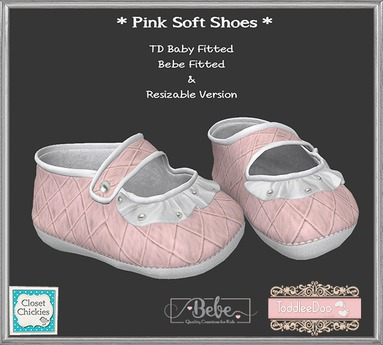 *CC* TD B/Bebe/Unrigged Soft Baby Shoes *Pink* (WEAR)