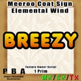 "Meeroo Coat Sign ""Elemental Wind"" Vers. 1"