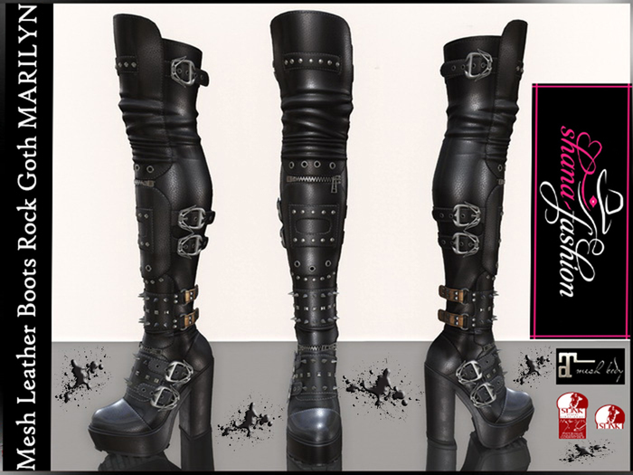Mesh Leather Boots Rock Goth MARILYN