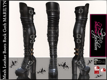 Mesh Leather Boots Rock Goth MARILYN _ Maitreya , Slink