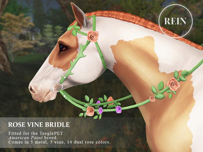 REIN - TeeglePet Rose Vine Bridle AMERICAN PAINT