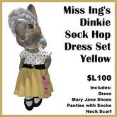 Miss Ing's Dinkie Sock Hop Dress Set Yellow
