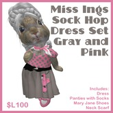 Miss Ing's Dinkie Sock Hop Dress Set Gray and Pink