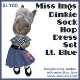 Miss Ing's Dinkie Sock Hop Dress Set Lt Blue