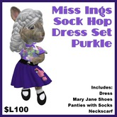 Miss Ing's Dinkie Sock Hop Dress Set Purkle