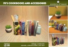 70's Cookbooks, Utensil Holder, and Aloe Vera Plant