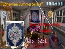Bohemian Summer Series - Blue Silk Wall Hanging