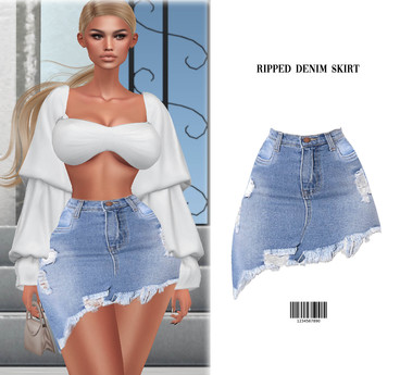 Ripped Denim Skirt [LIGHT BLUE] BBL, HG, 9S JESSICA, SKING, LARA, FREYA, EBODY CURVY ::Kloss::