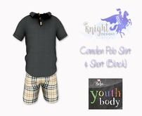 [KNIGHT DESIGNS] CAMDEN POLO SHIRT & SHORT (BLACK) - BEBE YOUTH