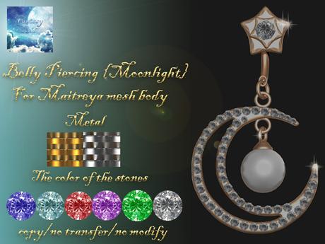 """{Fantasy world} Belly piercing - """"Moonlight"""" Maitreya"""