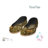 [ity.] China Floral Flats Gold