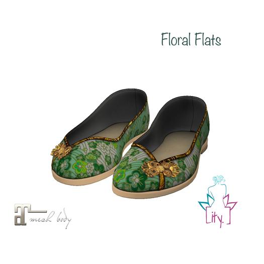 [ity.] China Floral Flats Green