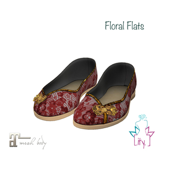 [ity.] China Floral Flats Red