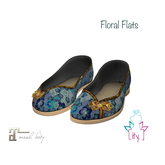 [ity.] China Floral Flats Blue
