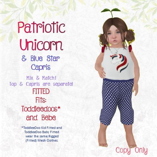 TPT - Patriotic Unicorn + Blue Star Capris -TDB/TDK & Bebe