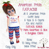 TPT - America America FatPack- all 5 outfits + BONUSES - Mix and Match- TDB/TDK & Bebe