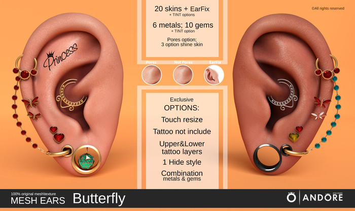 :ANDORE: - :Mesh Ears: - Butterfly