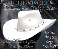 Diamond Jim CB Hat Winter White Leather Stone's Works