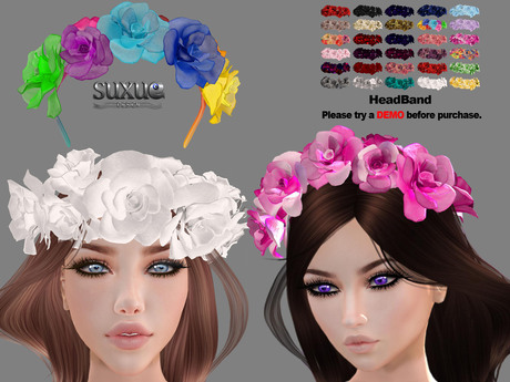 [SuXue Mesh] FATPACK Abby Headband Rose Unrigged HUD, 29 Colors, Resize