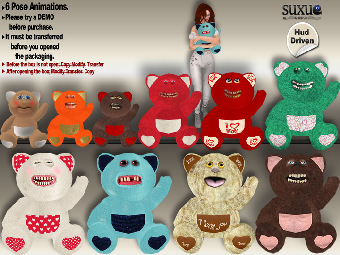[SuXue Mesh] FATPACK Nikko Teddy Bear Via HUD 6 AO You can put the teddy bear anywhere and add or wear Resize 1 Box