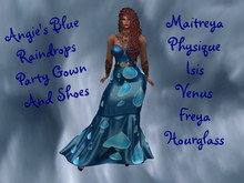 Angie's Blue Raindrops Party Gown and Shoes