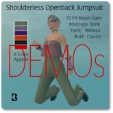 Blackburns Shoulderless Jumpsuit 13 Sizes 6 Colors DEMO