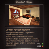 Cottage Apricot Bedroom (boxed) animated ,menu controlled
