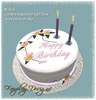 Surprising Second Life Marketplace Floral Musical Birthday Cake Touch Me Funny Birthday Cards Online Alyptdamsfinfo