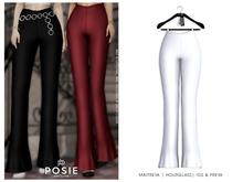 POSIE - Ami Ribbed Flare Pants .WHITE