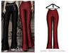 POSIE - Ami Ribbed Flare Pants .BURGUNDY