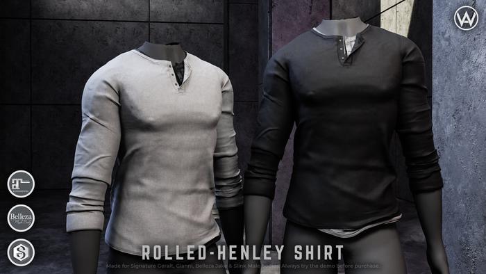 [WAZ] Rolled Henley (Black)