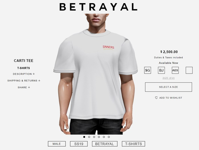 BETRAYAL. Carti Tee SIN WHITE Jake, Gianni, Aesthetic