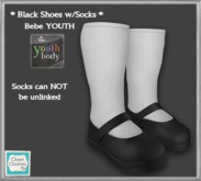 *CC* Bebe YOUTH Black Shoes w/Socks [ADD]