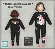 *CC* Bebe Youth *Black Unicorn Sweats Outfit* [ADD]