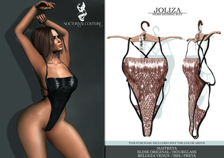 Nocturnal Couture Joliza Bathing Suit Rose Gold Sequin
