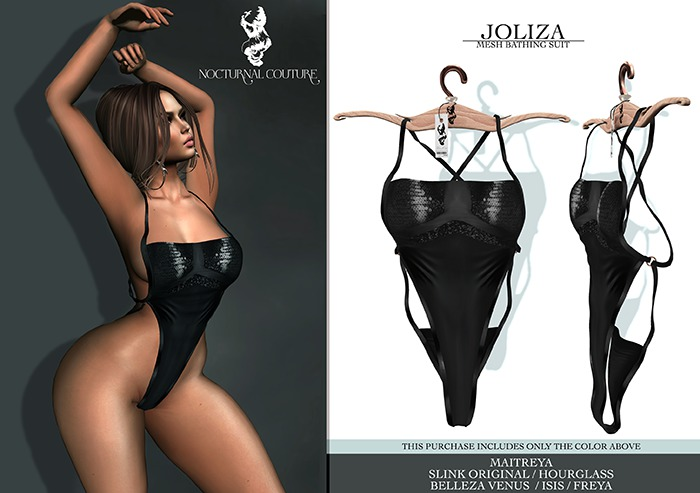 Nocturnal Couture Joliza Bathing Suit Black