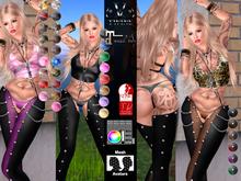 V-Twins - Biker Clothes - Burner Collection **MESH Top & Chaps Compat. (Maitreya Slink)