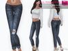 MAITREYA FULL PERM FITMESH Low Rise Rolled Leg Skinny Ripped Denim Jeans - 5 TEXTURES