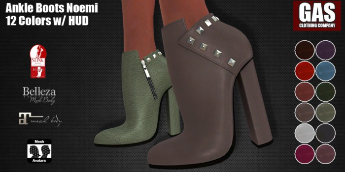 GAS [Ankle Boots Noemi - 12 Colors w/HUD FATPACK]