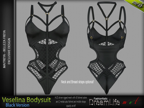 VESELINA FEMALE BODYSUIT BLACK SINGLE COLOR - MESH - Maitreya Lara, Belleza Freya - FashionNatic