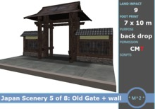 * M^2 * Japanese Scenery 5 of 8 - Old Japanese Gate and Wall (COPY/MODIFY/MESH/BOXED)